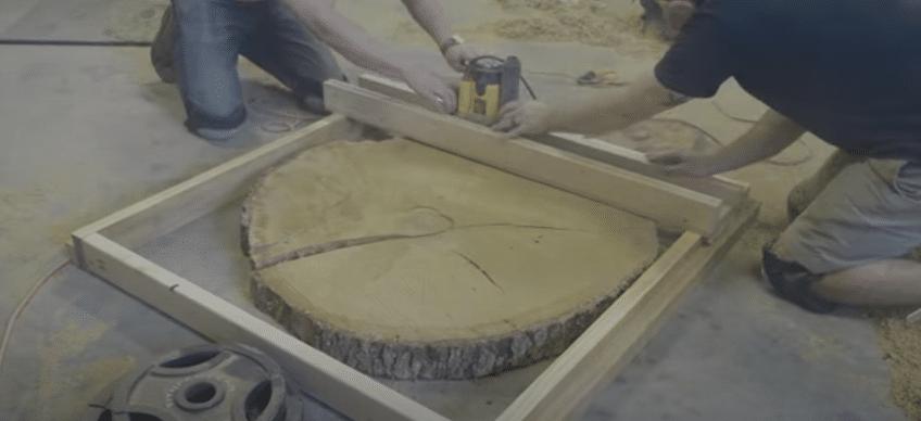 mesa de porcelanato rustica